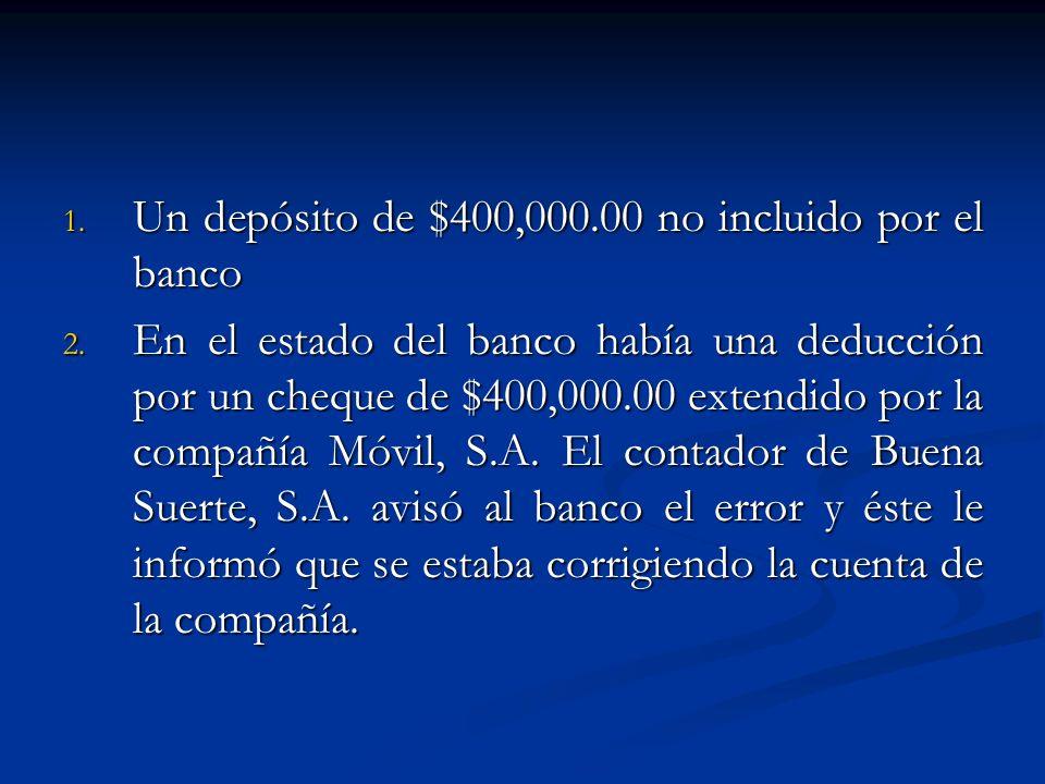 1. Un depósito de $400,000.00 no incluido por el banco 2. En el estado del banco había una deducción por un cheque de $400,000.00 extendido por la com