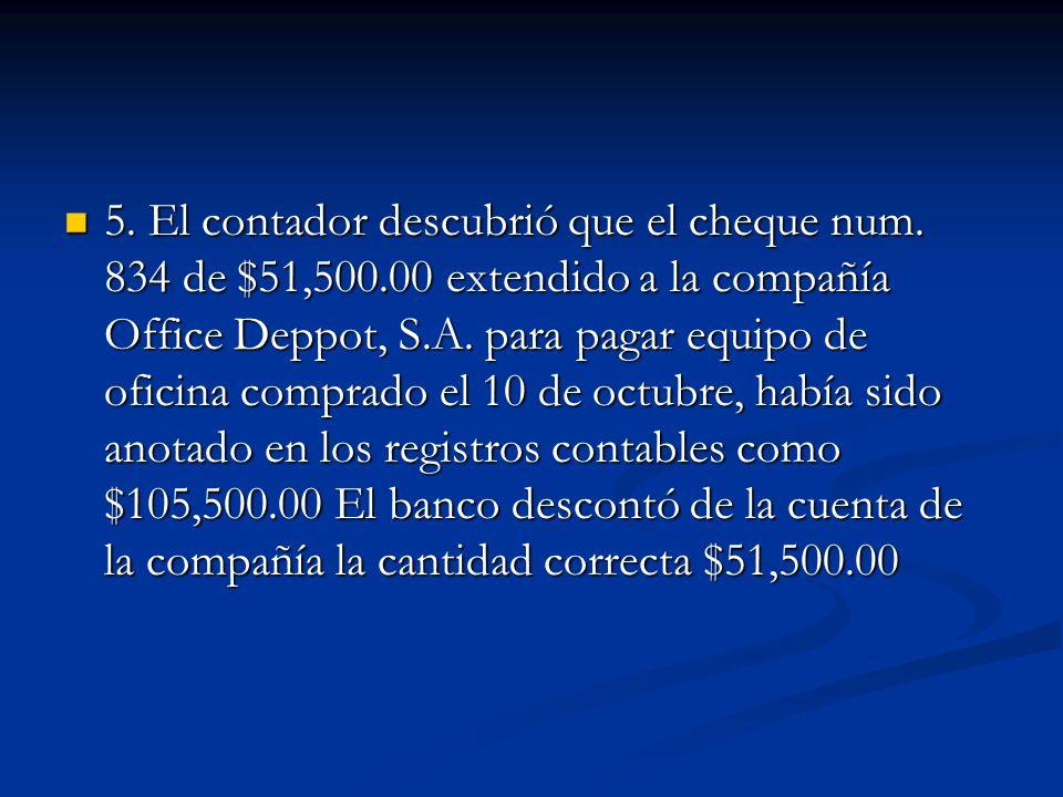 5. El contador descubrió que el cheque num. 834 de $51,500.00 extendido a la compañía Office Deppot, S.A. para pagar equipo de oficina comprado el 10