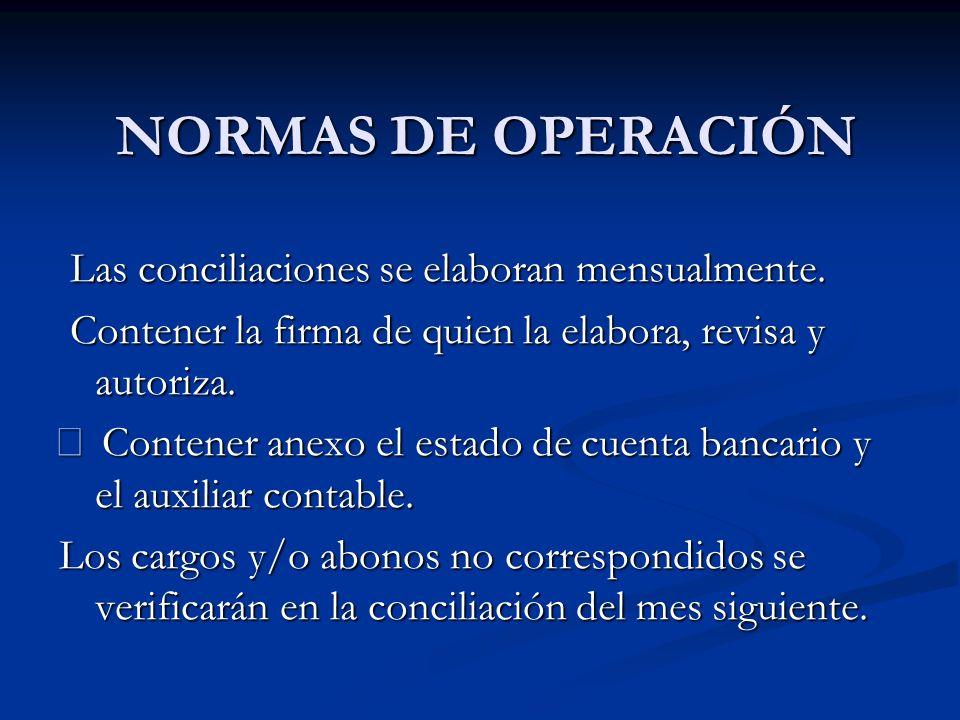 NORMAS DE OPERACIÓN NORMAS DE OPERACIÓN Las conciliaciones se elaboran mensualmente. Las conciliaciones se elaboran mensualmente. Contener la firma de