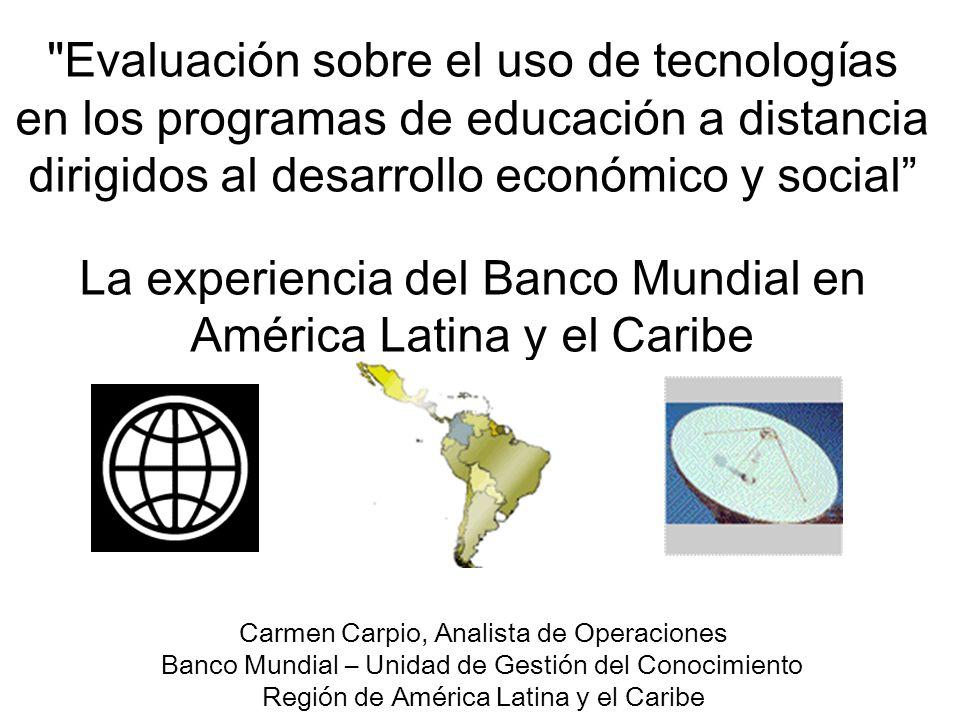 El Banco Mundial: El Banco del Conocimiento El Componente de Gestión del Conocimiento - Compartiendo Conocimientos - Implementando el uso de tecnologias efectivas y eficientes