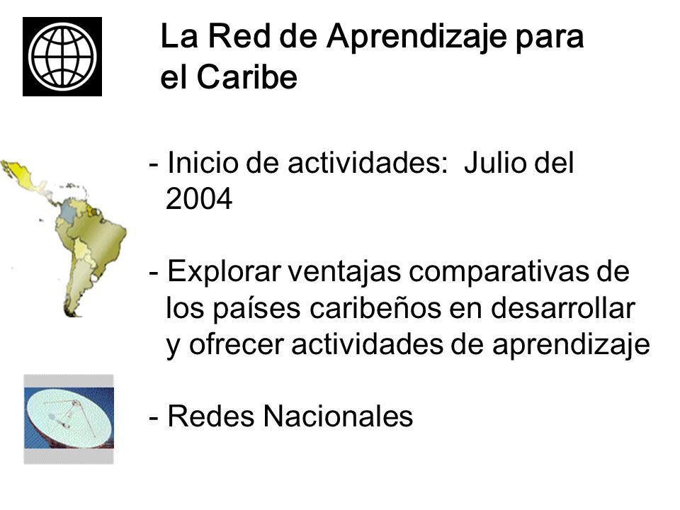 La Red de Aprendizaje para el Caribe - Inicio de actividades: Julio del 2004 - Explorar ventajas comparativas de los países caribeños en desarrollar y