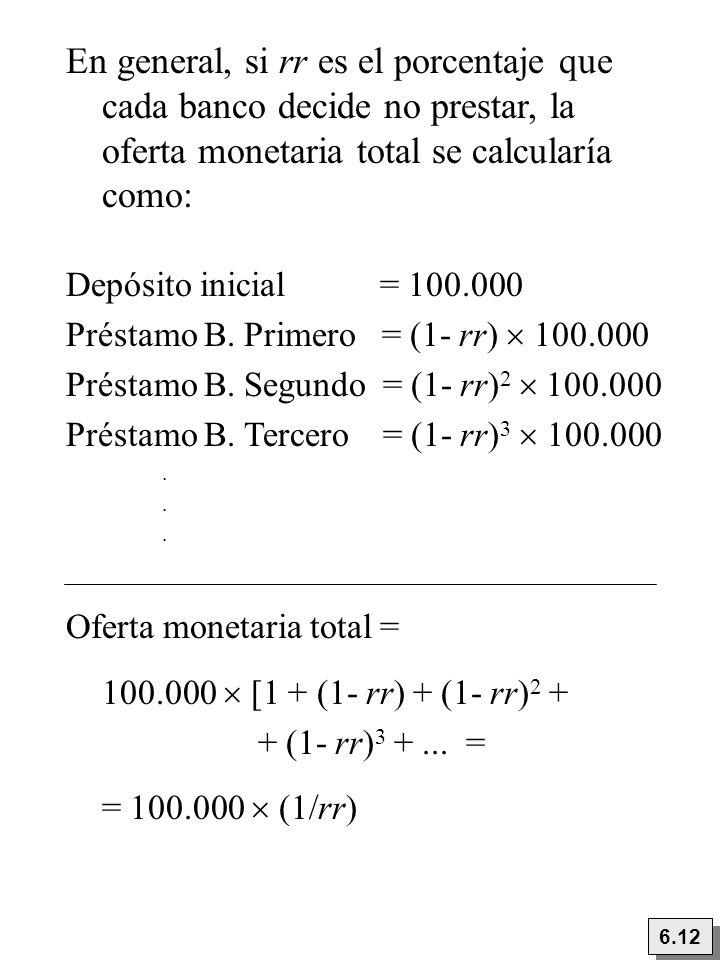 En general, si rr es el porcentaje que cada banco decide no prestar, la oferta monetaria total se calcularía como: Depósito inicial = 100.000 Préstamo