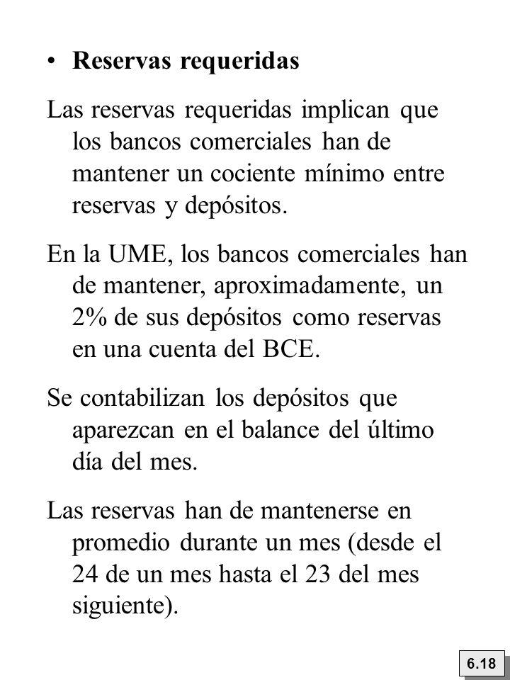 Reservas requeridas Las reservas requeridas implican que los bancos comerciales han de mantener un cociente mínimo entre reservas y depósitos. En la U