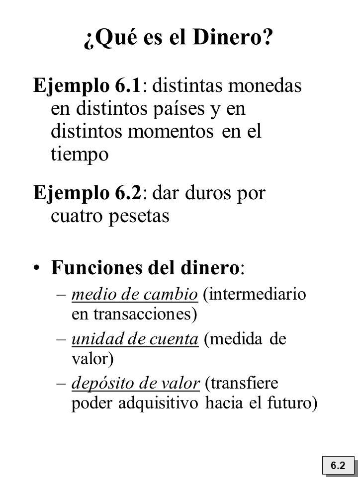 ¿Qué es el Dinero? 6.2 Ejemplo 6.1: distintas monedas en distintos países y en distintos momentos en el tiempo Ejemplo 6.2: dar duros por cuatro peset