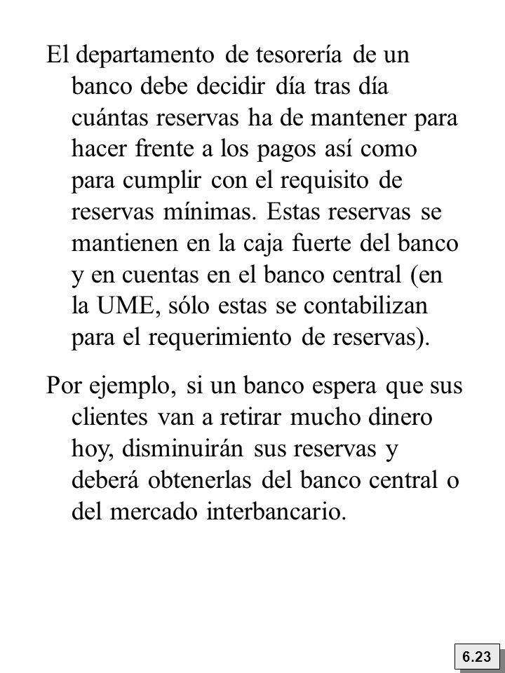 6.23 El departamento de tesorería de un banco debe decidir día tras día cuántas reservas ha de mantener para hacer frente a los pagos así como para cu