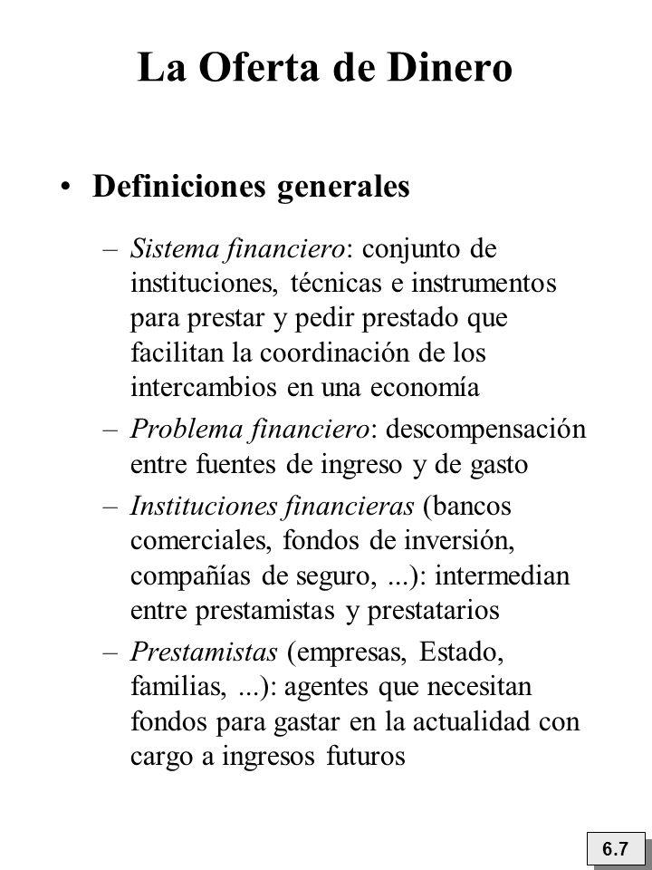 6.7 La Oferta de Dinero Definiciones generales –Sistema financiero: conjunto de instituciones, técnicas e instrumentos para prestar y pedir prestado q
