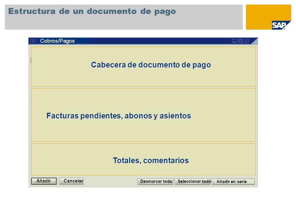 Estructura de un documento de pago Cobros/Pagos Facturas pendientes, abonos y asientos Cabecera de documento de pago Totales, comentarios Cancelar Aña