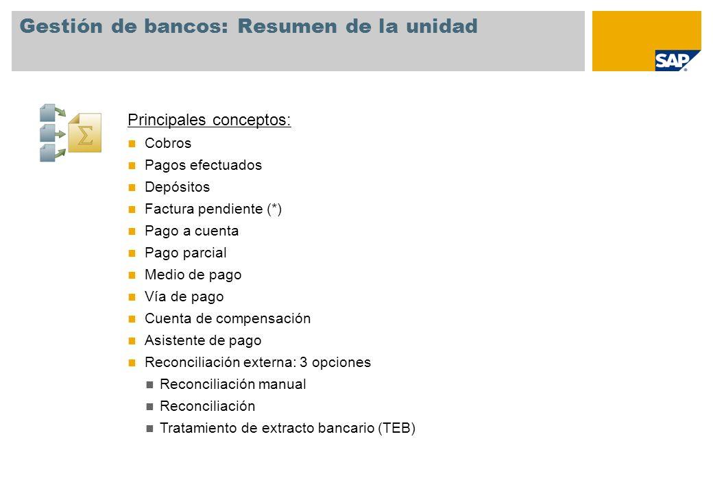 Gestión de bancos: Resumen de la unidad Principales conceptos: Cobros Pagos efectuados Depósitos Factura pendiente (*) Pago a cuenta Pago parcial Medi