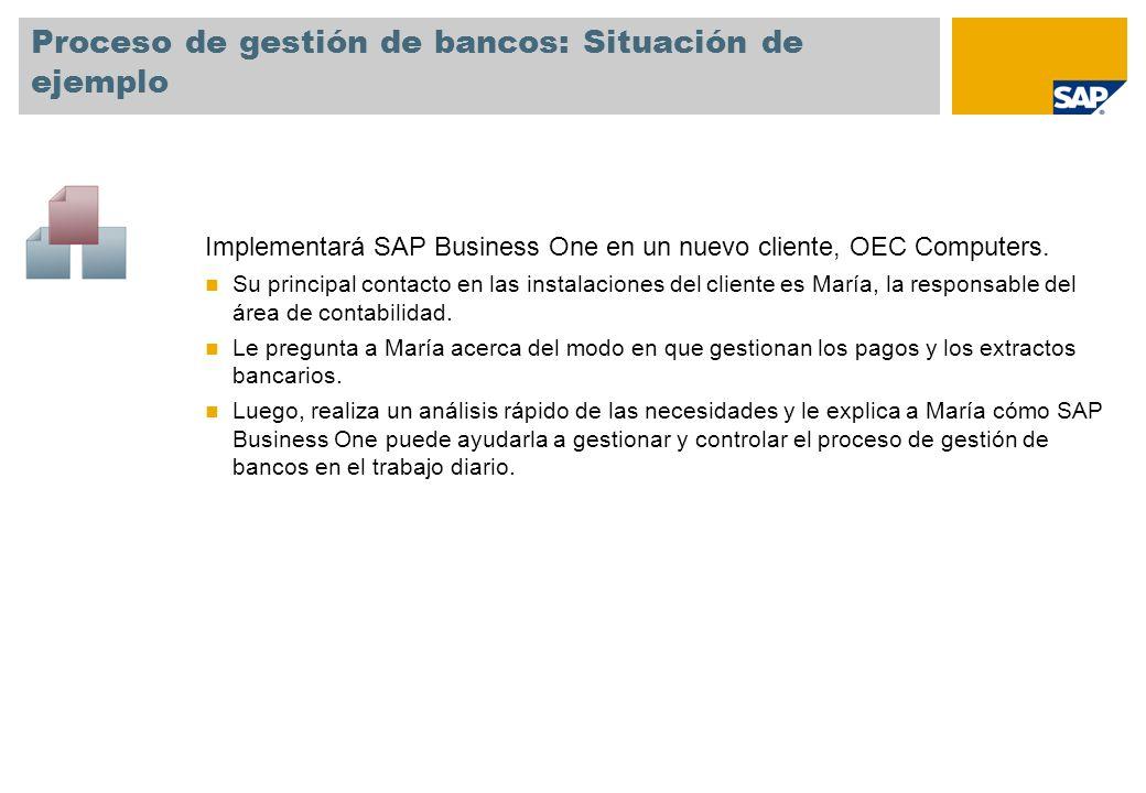 Proceso de gestión de bancos: Situación de ejemplo Implementará SAP Business One en un nuevo cliente, OEC Computers. Su principal contacto en las inst