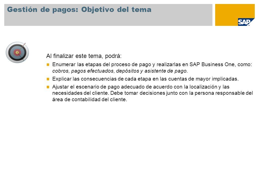 Gestión de pagos: Objetivo del tema Al finalizar este tema, podrá: Enumerar las etapas del proceso de pago y realizarlas en SAP Business One, como: co