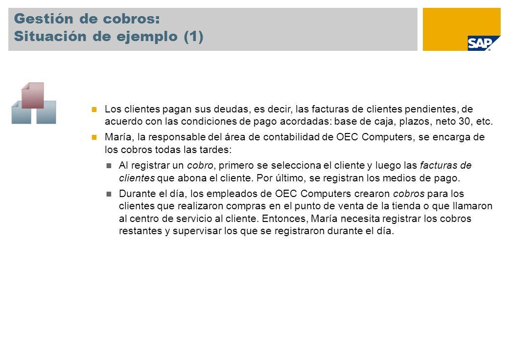 Gestión de cobros: Situación de ejemplo (2) María introduce cobros para los cheques recibidos por correo.