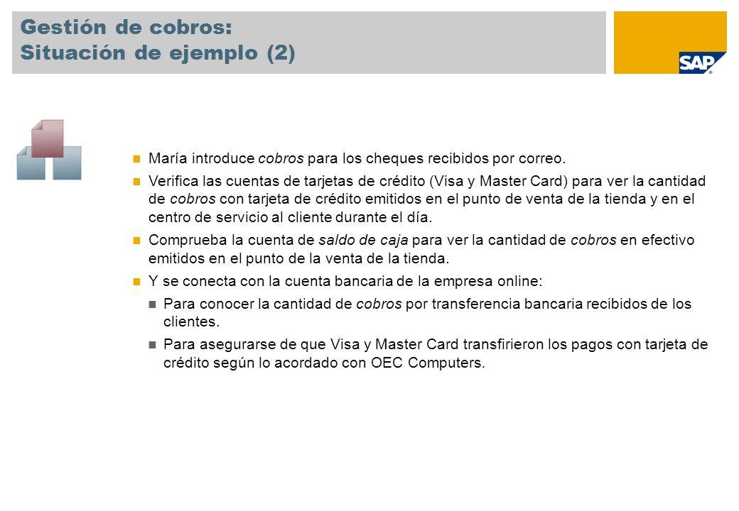 Gestión de cobros: Situación de ejemplo (2) María introduce cobros para los cheques recibidos por correo. Verifica las cuentas de tarjetas de crédito