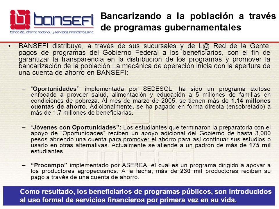 BANSEFI distribuye, a través de sus sucursales y de L@ Red de la Gente, pagos de programas del Gobierno Federal a los beneficiarios, con el fin de gar
