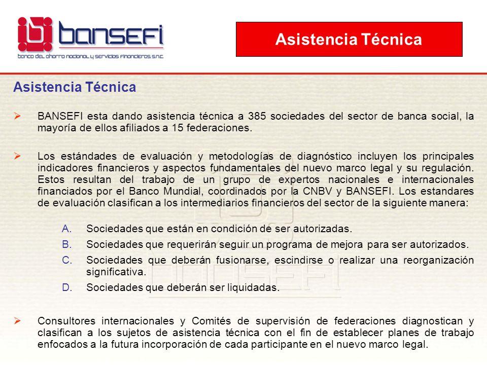 Asistencia Técnica BANSEFI esta dando asistencia técnica a 385 sociedades del sector de banca social, la mayoría de ellos afiliados a 15 federaciones.