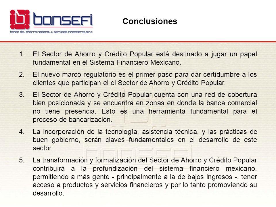 Conclusiones 1.El Sector de Ahorro y Crédito Popular está destinado a jugar un papel fundamental en el Sistema Financiero Mexicano. 2.El nuevo marco r
