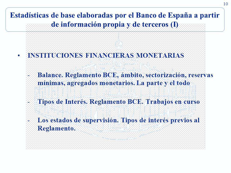 10 Estadísticas de base elaboradas por el Banco de España a partir de información propia y de terceros (I) INSTITUCIONES FINANCIERAS MONETARIAS -Balance.