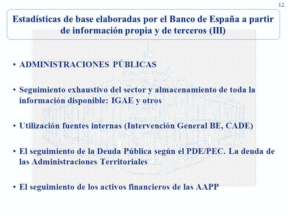 12 Estadísticas de base elaboradas por el Banco de España a partir de información propia y de terceros (III) ADMINISTRACIONES PÚBLICAS Seguimiento exh