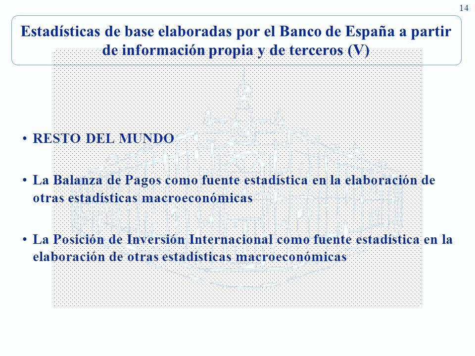 14 Estadísticas de base elaboradas por el Banco de España a partir de información propia y de terceros (V) RESTO DEL MUNDO La Balanza de Pagos como fuente estadística en la elaboración de otras estadísticas macroeconómicas La Posición de Inversión Internacional como fuente estadística en la elaboración de otras estadísticas macroeconómicas