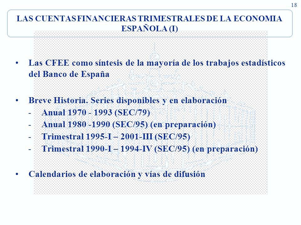 18 LAS CUENTAS FINANCIERAS TRIMESTRALES DE LA ECONOMIA ESPAÑOLA (I) Las CFEE como síntesis de la mayoría de los trabajos estadísticos del Banco de Esp