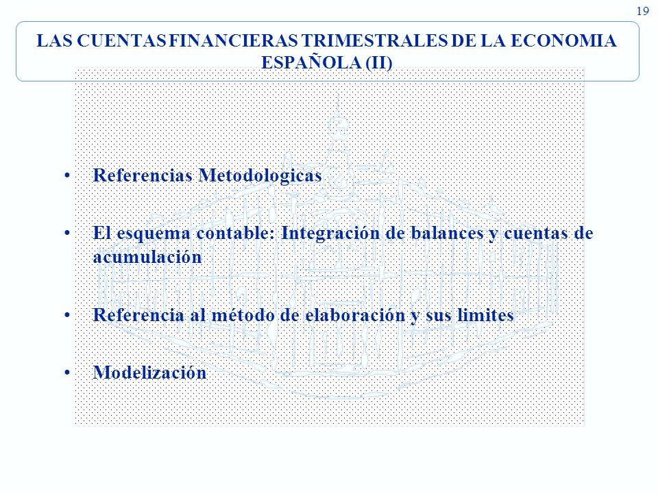 19 LAS CUENTAS FINANCIERAS TRIMESTRALES DE LA ECONOMIA ESPAÑOLA (II) Referencias Metodologicas El esquema contable: Integración de balances y cuentas