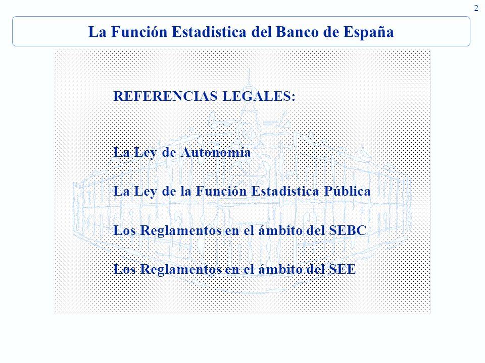2 La Función Estadistica del Banco de España REFERENCIAS LEGALES: La Ley de Autonomía La Ley de la Función Estadistica Pública Los Reglamentos en el ámbito del SEBC Los Reglamentos en el ámbito del SEE
