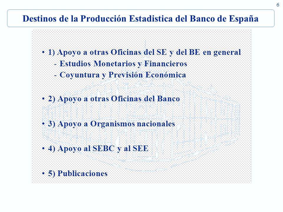 6 Destinos de la Producción Estadistica del Banco de España 1) Apoyo a otras Oficinas del SE y del BE en general -Estudios Monetarios y Financieros -C