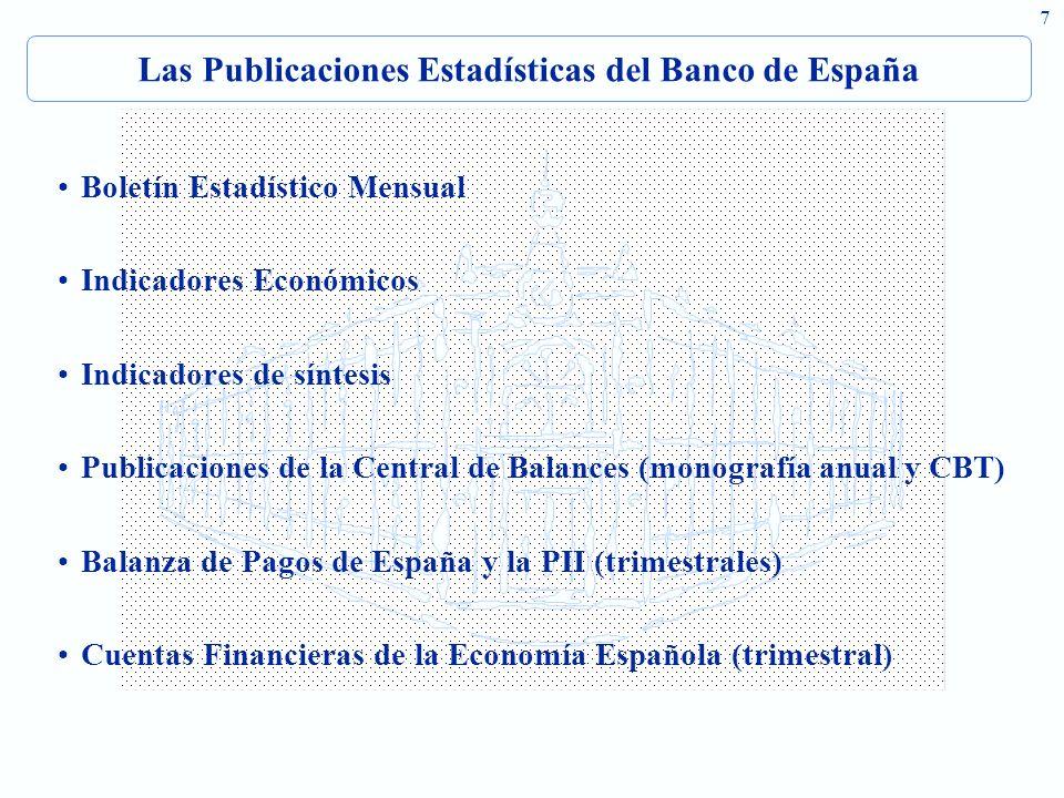 7 Las Publicaciones Estadísticas del Banco de España Boletín Estadístico Mensual Indicadores Económicos Indicadores de síntesis Publicaciones de la Central de Balances (monografía anual y CBT) Balanza de Pagos de España y la PII (trimestrales) Cuentas Financieras de la Economía Española (trimestral )