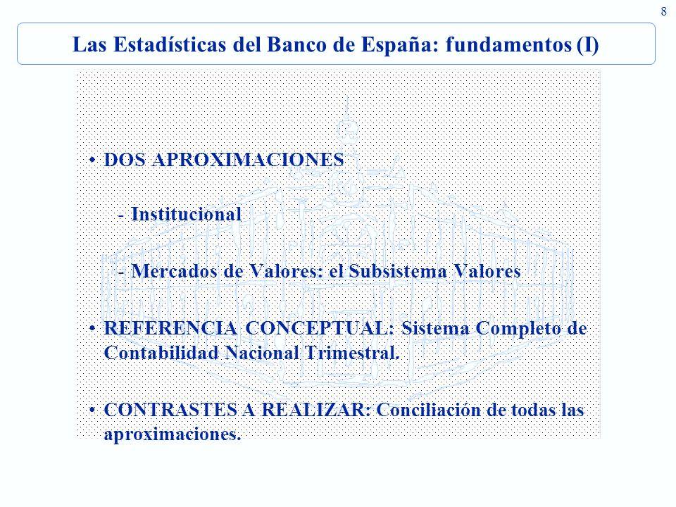 8 Las Estadísticas del Banco de España: fundamentos (I) DOS APROXIMACIONES -Institucional -Mercados de Valores: el Subsistema Valores REFERENCIA CONCEPTUAL: Sistema Completo de Contabilidad Nacional Trimestral.