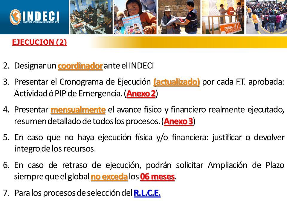 coordinador 2.Designar un coordinador ante el INDECI (actualizado) Anexo 2 3.Presentar el Cronograma de Ejecución (actualizado) por cada F.T.