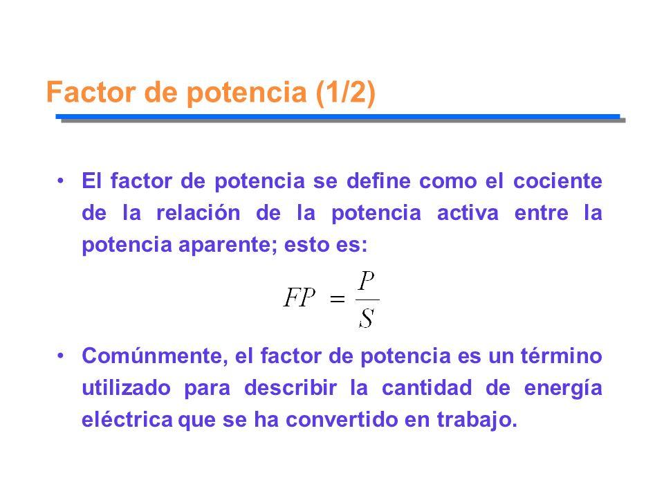 Factor de potencia (1/2) El factor de potencia se define como el cociente de la relación de la potencia activa entre la potencia aparente; esto es: Co