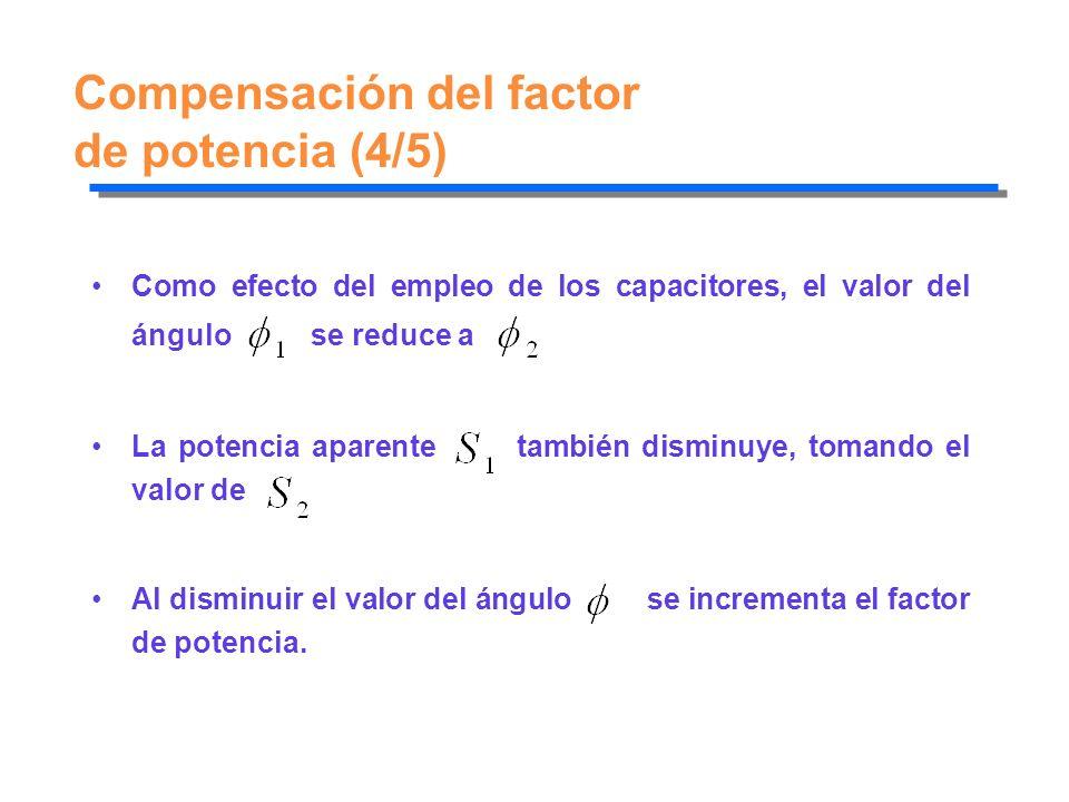 Compensación del factor de potencia (4/5) Como efecto del empleo de los capacitores, el valor del ángulo se reduce a La potencia aparente también dism