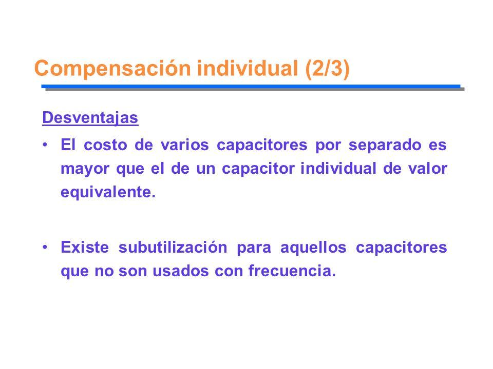Compensación individual (2/3) Desventajas El costo de varios capacitores por separado es mayor que el de un capacitor individual de valor equivalente.