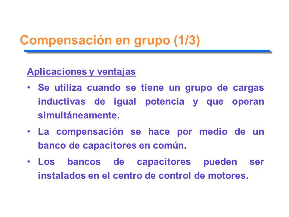 Compensación en grupo (1/3) Aplicaciones y ventajas Se utiliza cuando se tiene un grupo de cargas inductivas de igual potencia y que operan simultánea