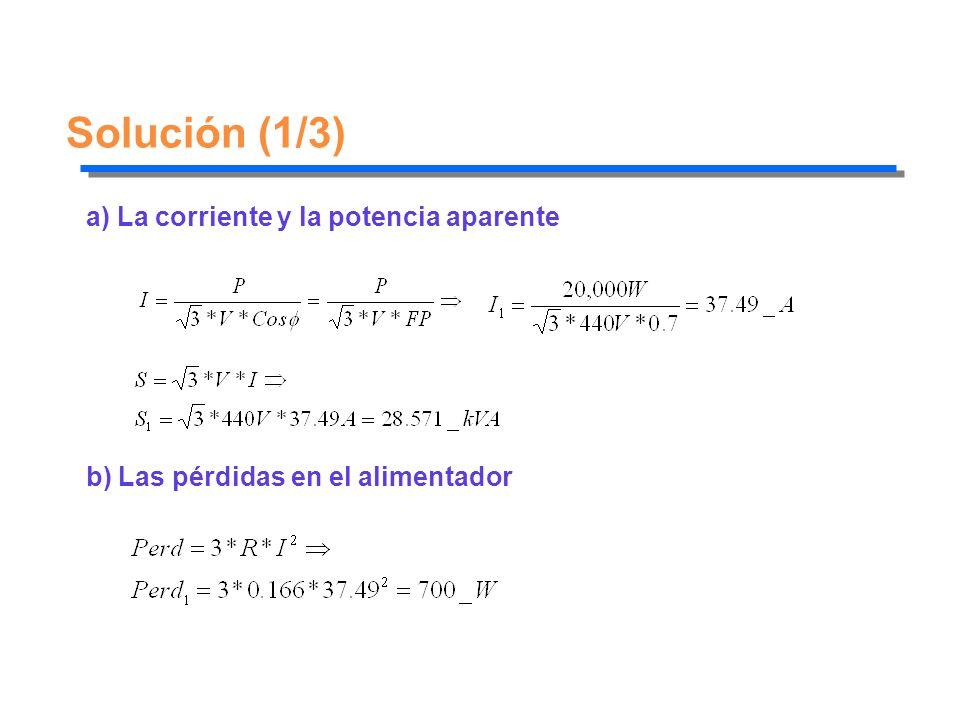 Solución (1/3) a) La corriente y la potencia aparente b) Las pérdidas en el alimentador