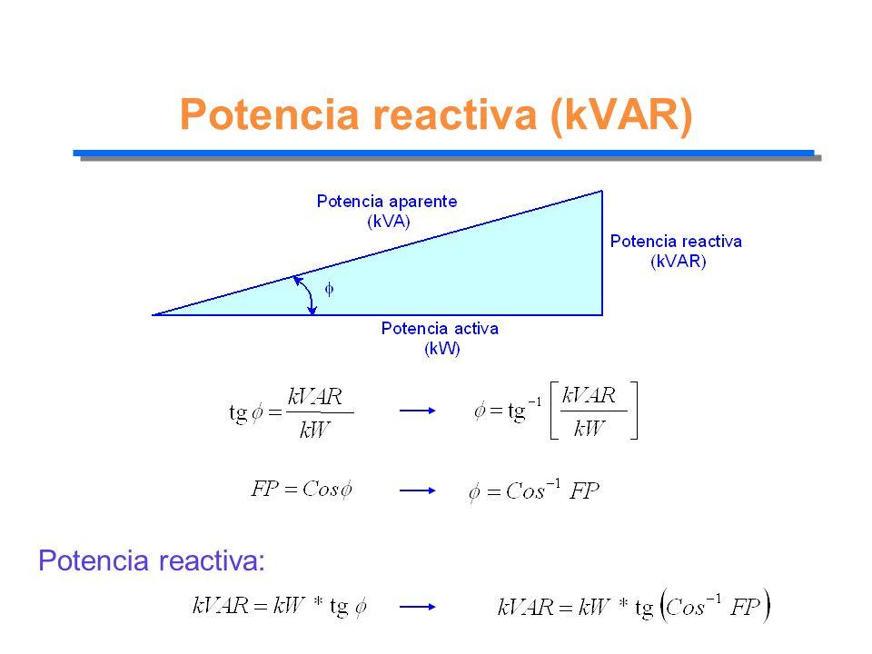 Potencia reactiva (kVAR) Potencia reactiva: