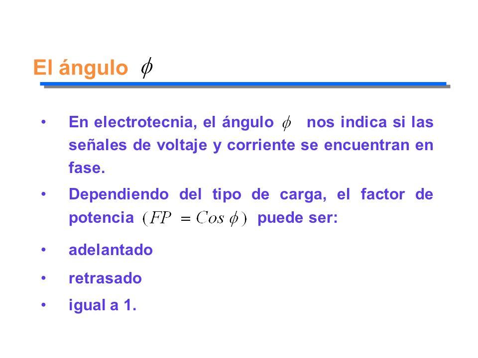 El ángulo En electrotecnia, el ángulo nos indica si las señales de voltaje y corriente se encuentran en fase. Dependiendo del tipo de carga, el factor
