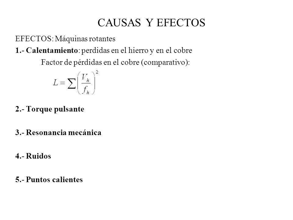 CAUSAS Y EFECTOS EFECTOS: Máquinas rotantes 1.- Calentamiento: perdidas en el hierro y en el cobre Factor de pérdidas en el cobre (comparativo): 2.- T