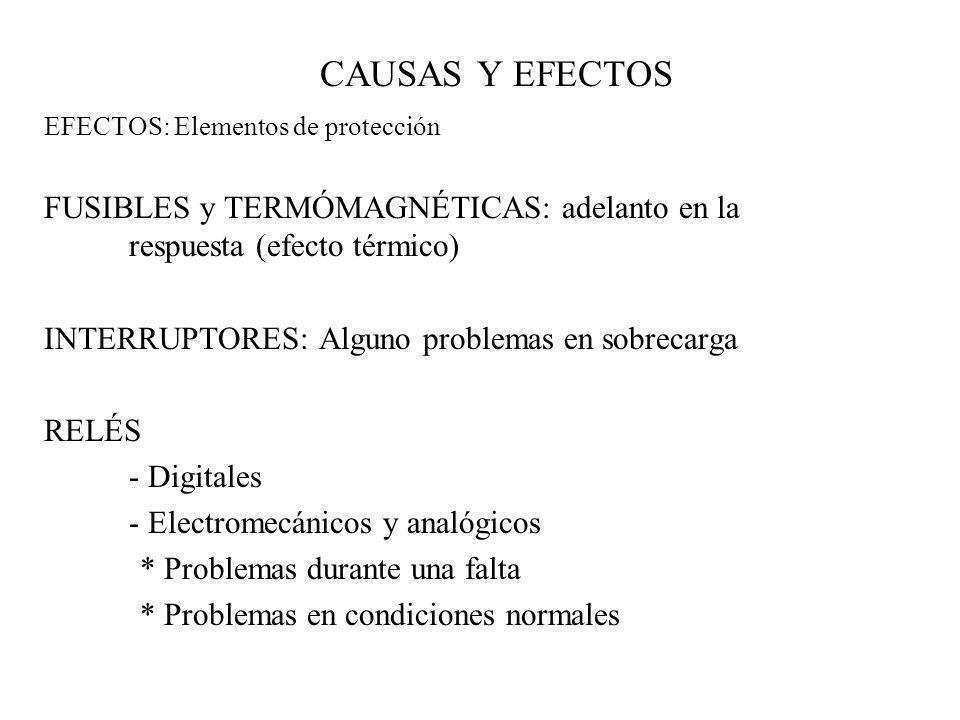 CAUSAS Y EFECTOS EFECTOS: Elementos de protección FUSIBLES y TERMÓMAGNÉTICAS: adelanto en la respuesta (efecto térmico) INTERRUPTORES: Alguno problema