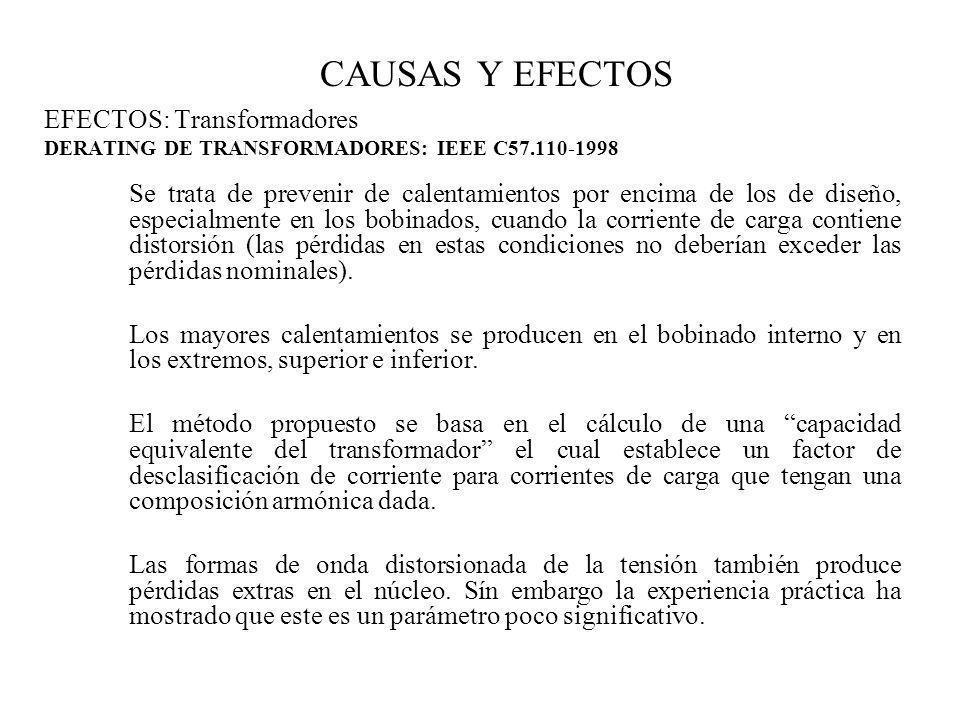 CAUSAS Y EFECTOS EFECTOS: Transformadores DERATING DE TRANSFORMADORES: IEEE C57.110-1998 Se trata de prevenir de calentamientos por encima de los de d