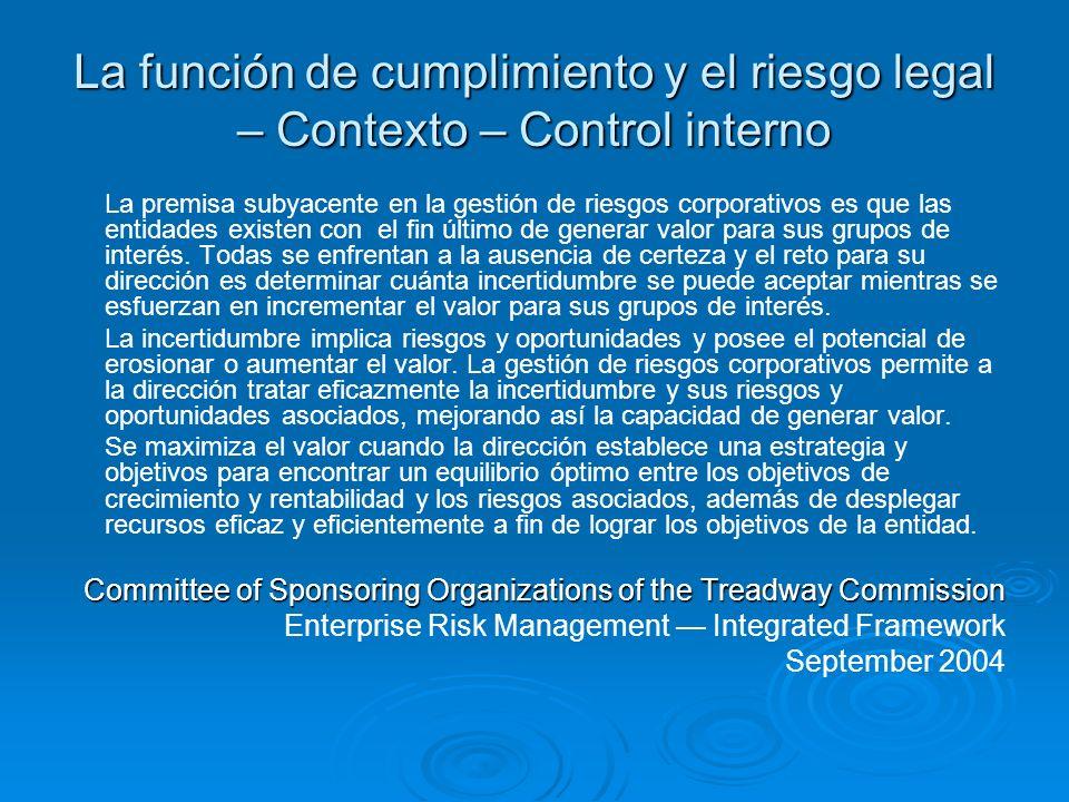 La función de cumplimiento y el riesgo legal – Contexto – Control interno La premisa subyacente en la gestión de riesgos corporativos es que las entid