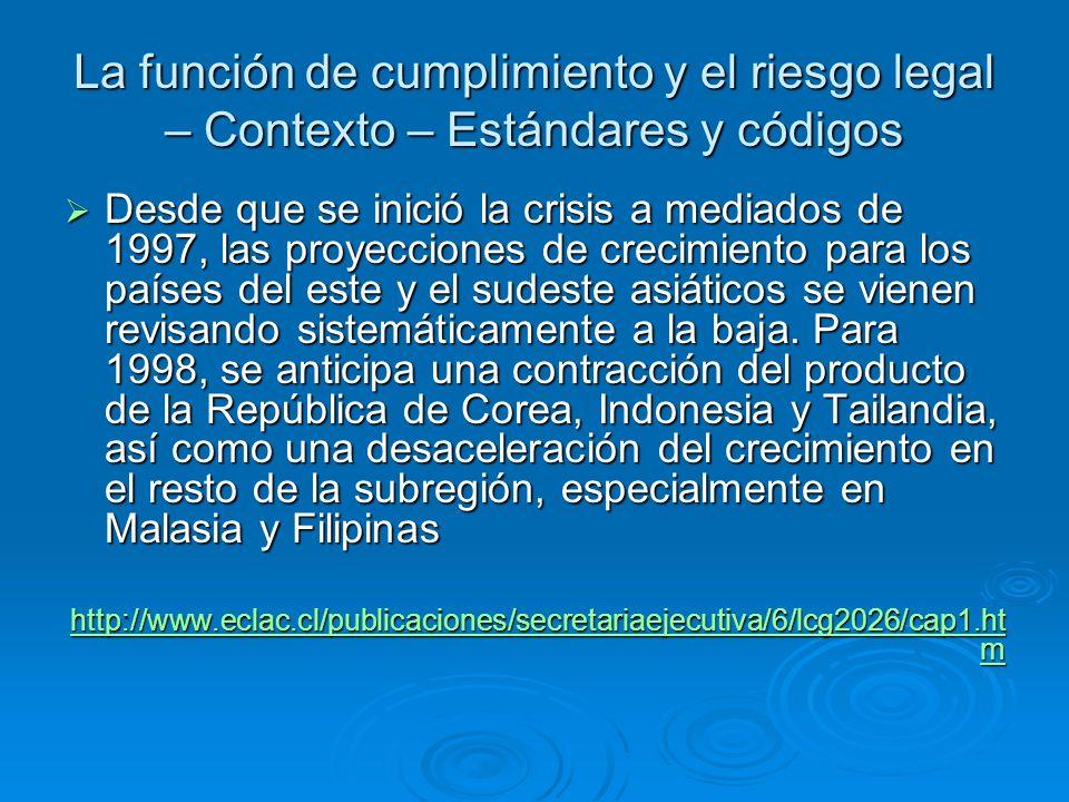 La función de cumplimiento y el riesgo legal – Contexto – Estándares y códigos Desde que se inició la crisis a mediados de 1997, las proyecciones de c