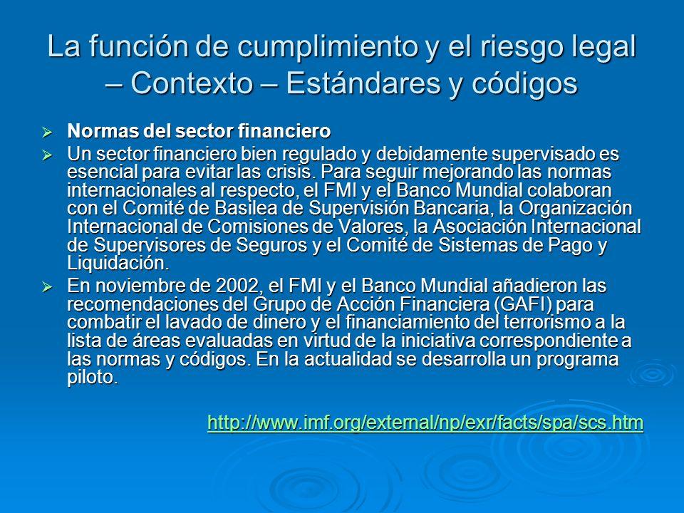 La función de cumplimiento y el riesgo legal – Contexto – Estándares y códigos Normas del sector financiero Normas del sector financiero Un sector fin