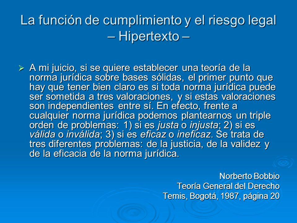 La función de cumplimiento y el riesgo legal – Hipertexto – A mi juicio, si se quiere establecer una teoría de la norma jurídica sobre bases sólidas,