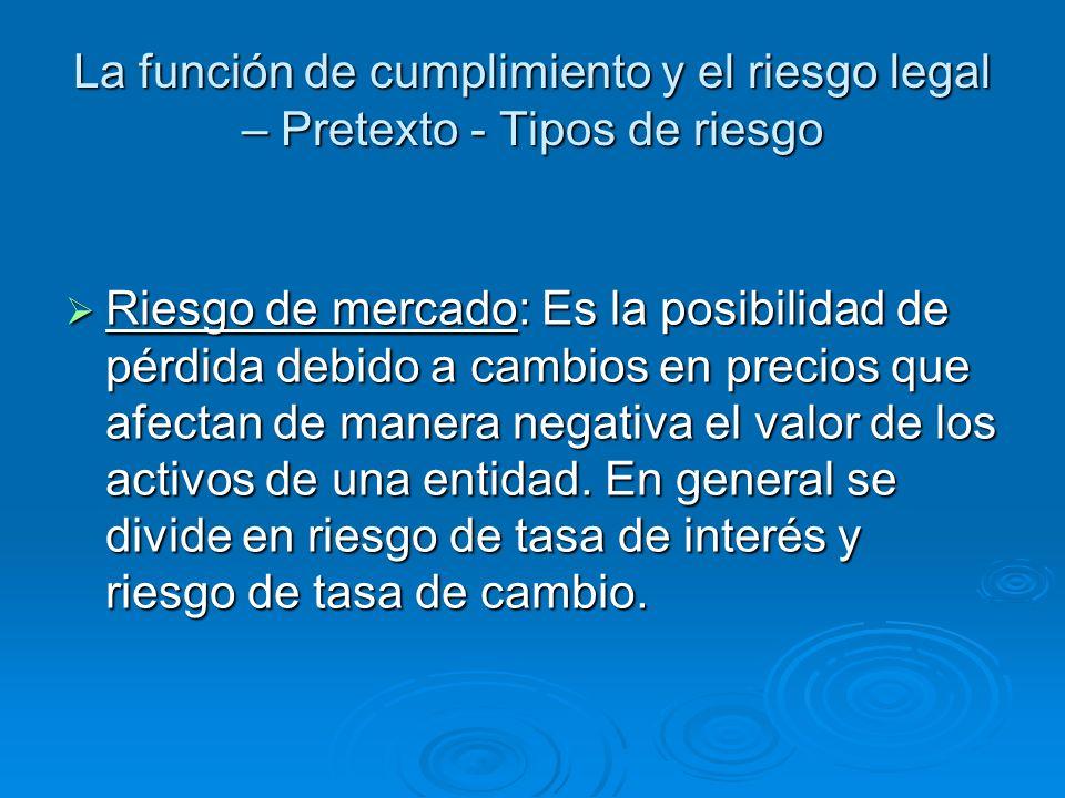 La función de cumplimiento y el riesgo legal – Contexto – Control interno ART.