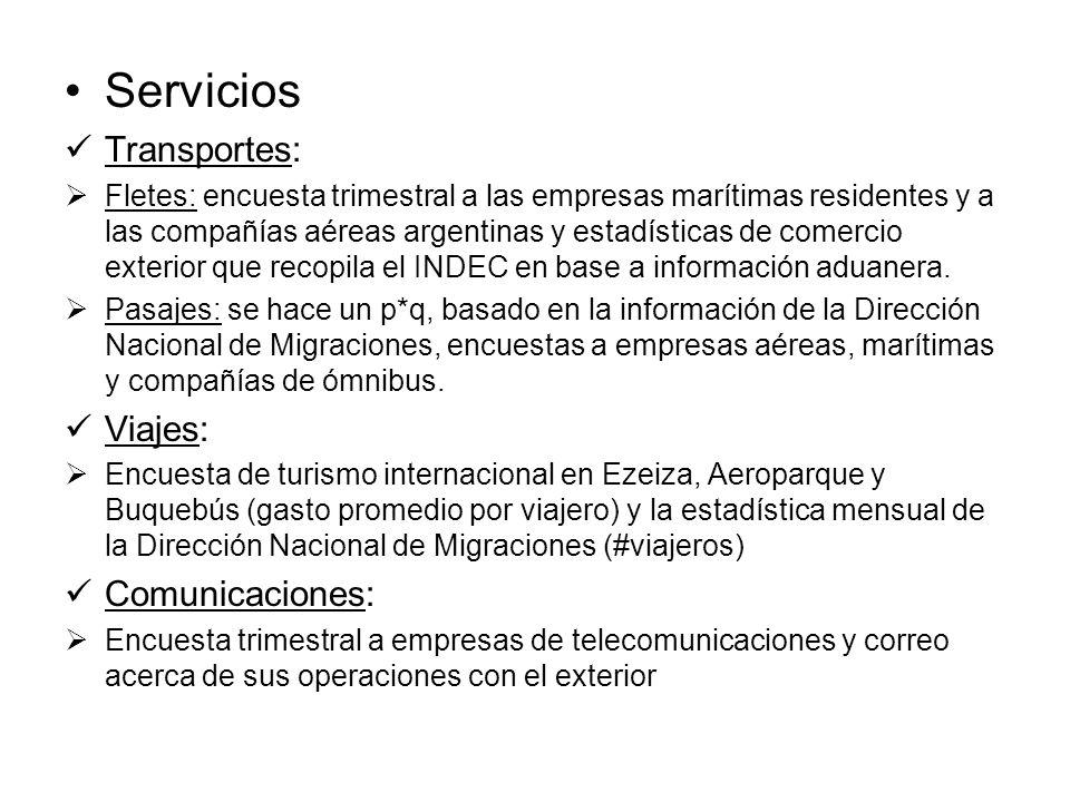 Servicios Transportes: Fletes: encuesta trimestral a las empresas marítimas residentes y a las compañías aéreas argentinas y estadísticas de comercio exterior que recopila el INDEC en base a información aduanera.