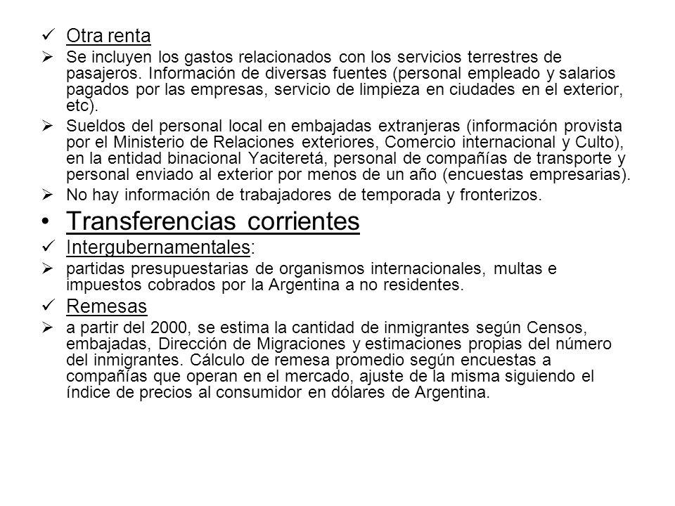Otra renta Se incluyen los gastos relacionados con los servicios terrestres de pasajeros.