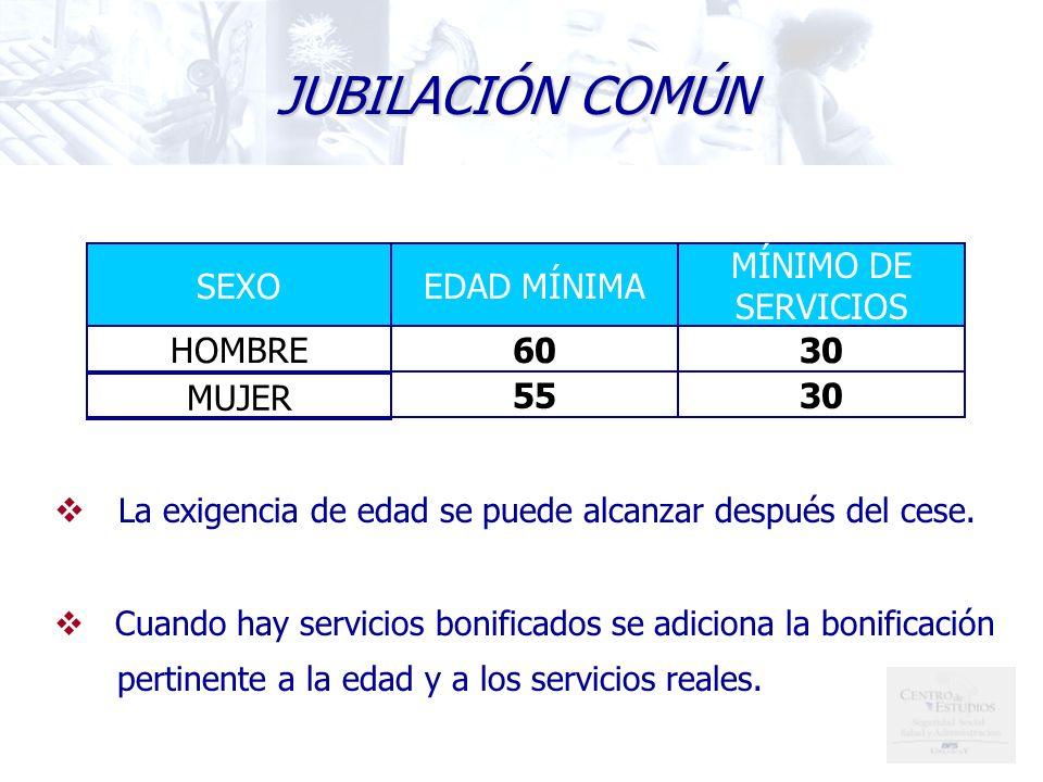 3055 MUJER 3060HOMBRE MÍNIMO DE SERVICIOS EDAD MÍNIMASEXO La exigencia de edad se puede alcanzar después del cese.