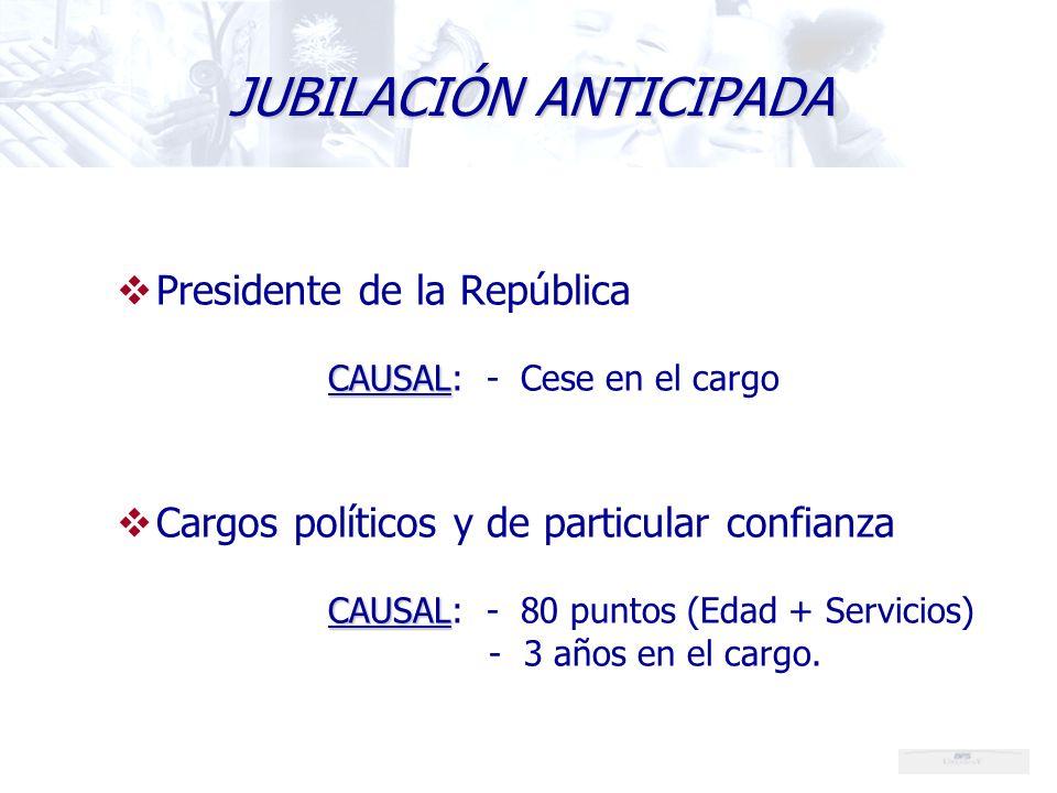 Presidente de la República CAUSAL CAUSAL: - Cese en el cargo Cargos políticos y de particular confianza CAUSAL CAUSAL: - 80 puntos (Edad + Servicios) - 3 años en el cargo.