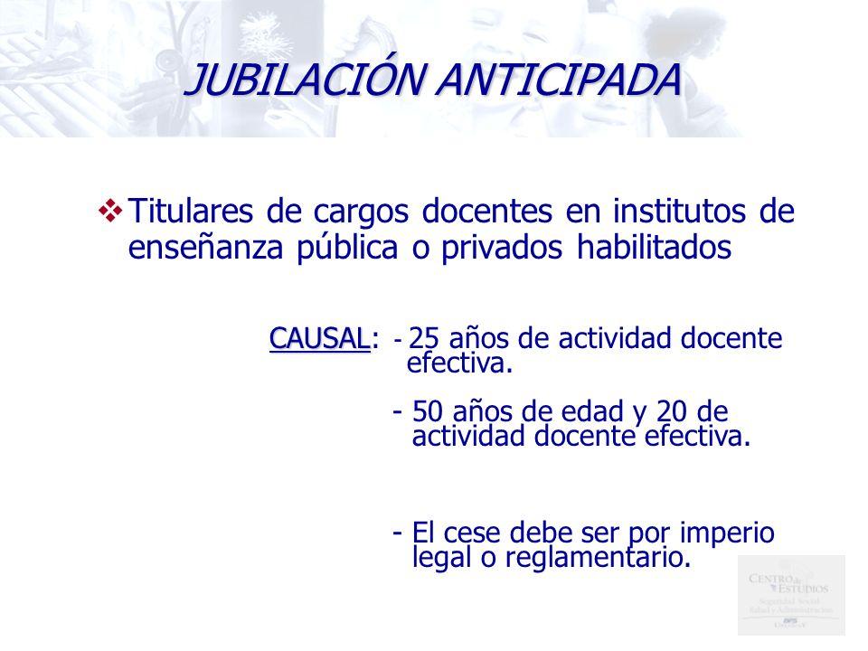Titulares de cargos docentes en institutos de enseñanza pública o privados habilitados CAUSAL CAUSAL: - 25 años de actividad docente efectiva.
