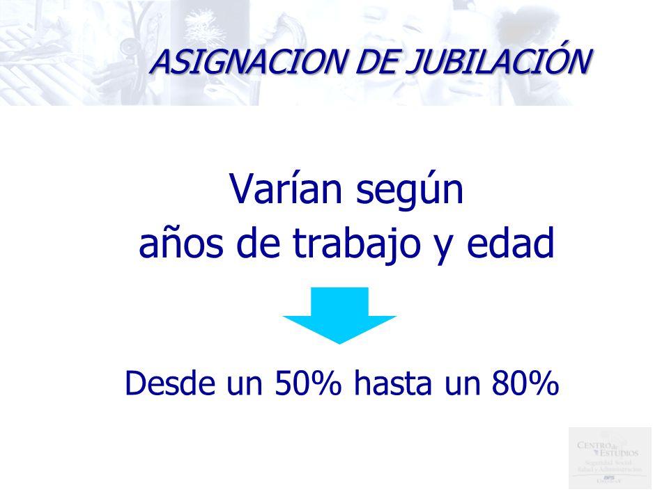 Varían según años de trabajo y edad ASIGNACION DE JUBILACIÓN Desde un 50% hasta un 80%